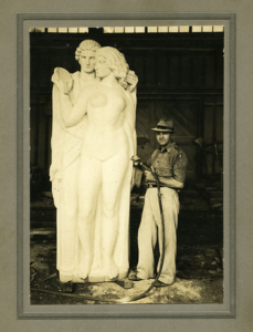 Italian Stonecarver, John Delamonte, c.1930, Redstone.  Photo Courtesy Steve Swenson Collection
