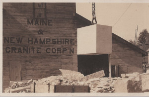 Postcard of Granite Block used for cornerstone of Temple. Courtesy Steve Swenson Collection